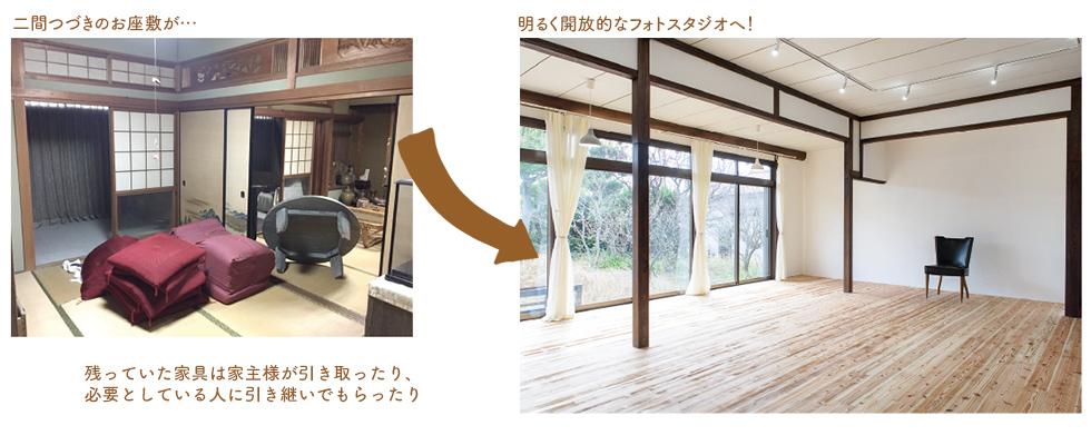 二間つづきのお座敷が明るく開放的なフォトスタジオへ!